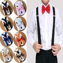 Мода джентльмен дети мальчики тонкий регулируемый клип на подтяжки и Dickie галстук-бабочка набор в ярком цвете Брейс ремень
