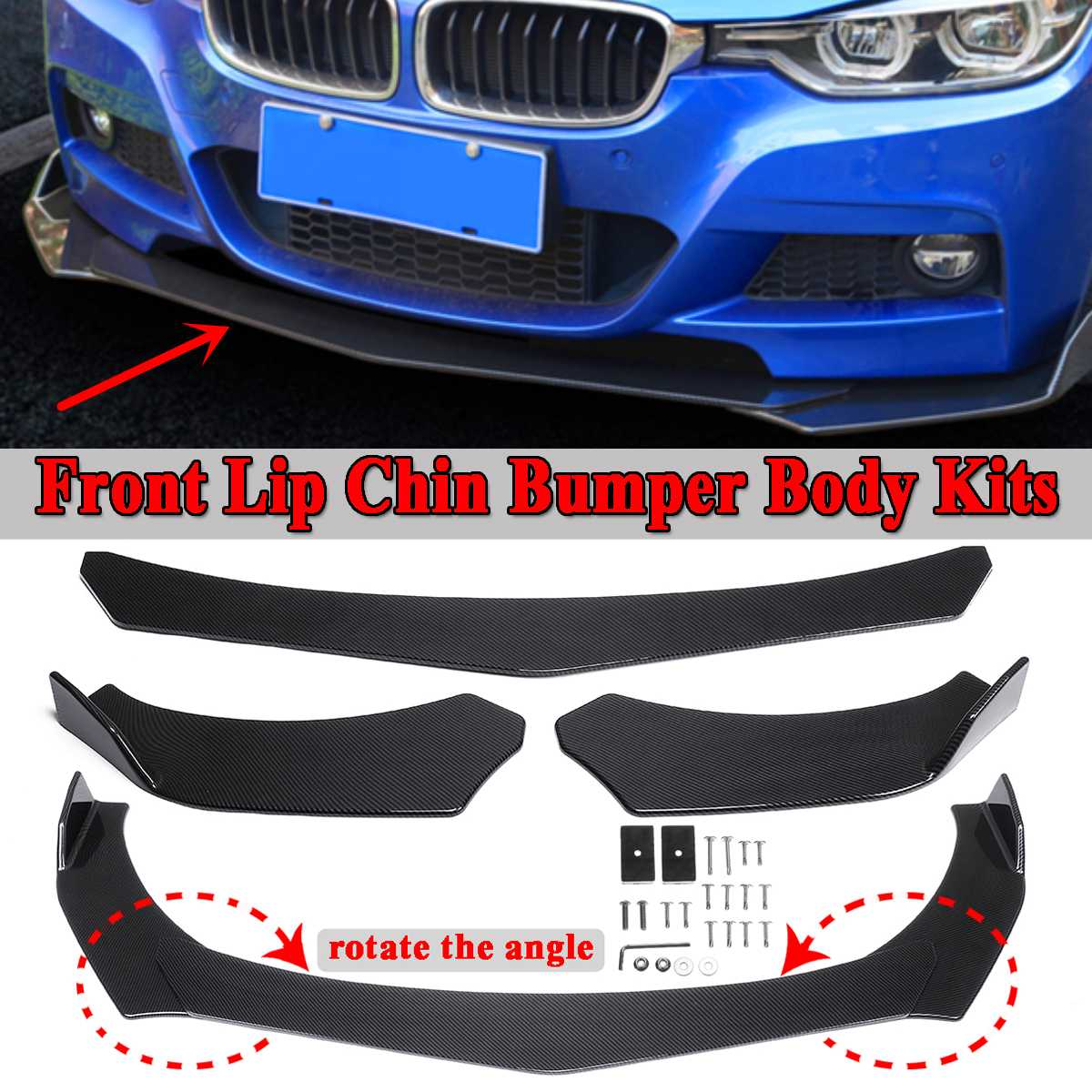 Carbon Fiber Look 3pcs Universal Car Front Lower Bumper Lip Bumper Spoiler Lip Body Kit Rotate Angle For Benz For BMW For Civic