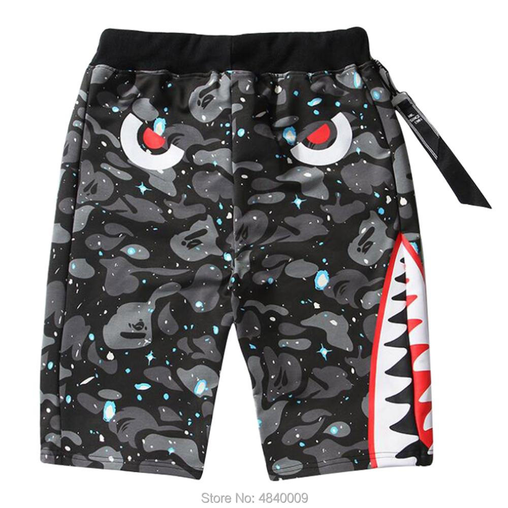 Creatorzwz Mens Casual Evil Shark Shorts Loose Camouflage Sports Shorts Streetwear Gym Shorts For Youth