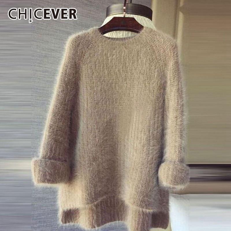 CHICEVER трикотажный женский свитер с круглым вырезом и длинными рукавами, асимметричный пуловер из мохера, топы женские, плюс толстый Harajuku, осень 2019