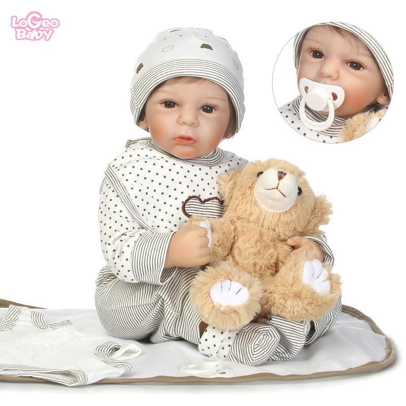 Logeo Baby Bebes Reborn Baby Dolls 50cm Soft Silicone Reborn Baby Dolls Lifelike Newborn Baby Model dolls Play House Toys Gift