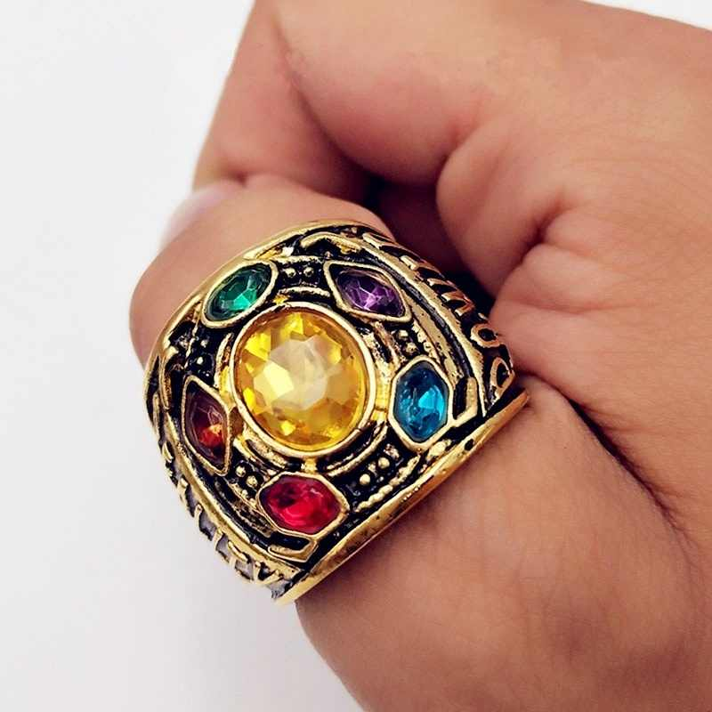 1PC Gold Metal for Infinity stones Ring Crystals Ring Jewelry for Men Women Ring with Stones Jewellery Acessorios Crafts Gifts