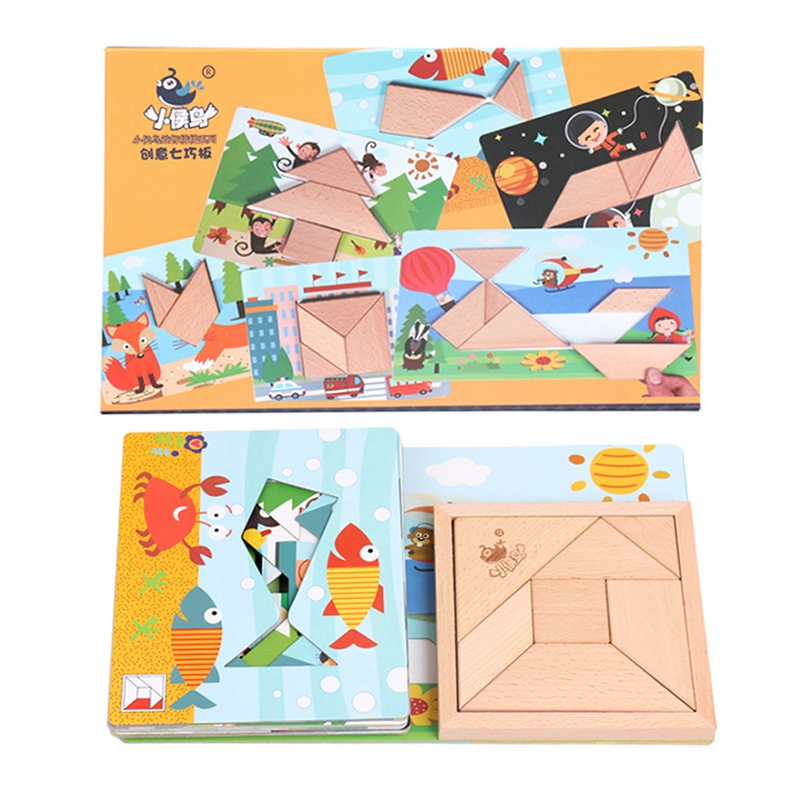 Xiaohouniao Children's Wooden Puzzle Early Education Game Toy Puzzle Intelligence Variant Module Puzzle Toy Creative Tangram B