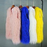 MJ New Fashion Winter Female Clothing Medium Long Wool Fur Vest Women Faux Fur Waistcoat