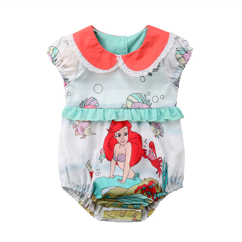 Summer Infant Newborn Baby Girl Clothing Cartoon Pattern Ruffle Peter pan collar Baby Girls Rompers Jumpsuit Clothes For Summer