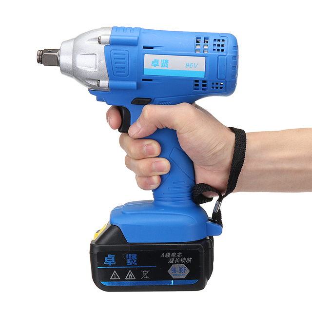 96v Cordless Impact Wrench 1 2 Inch Drive Li Ion Lithium Battery 320nm W