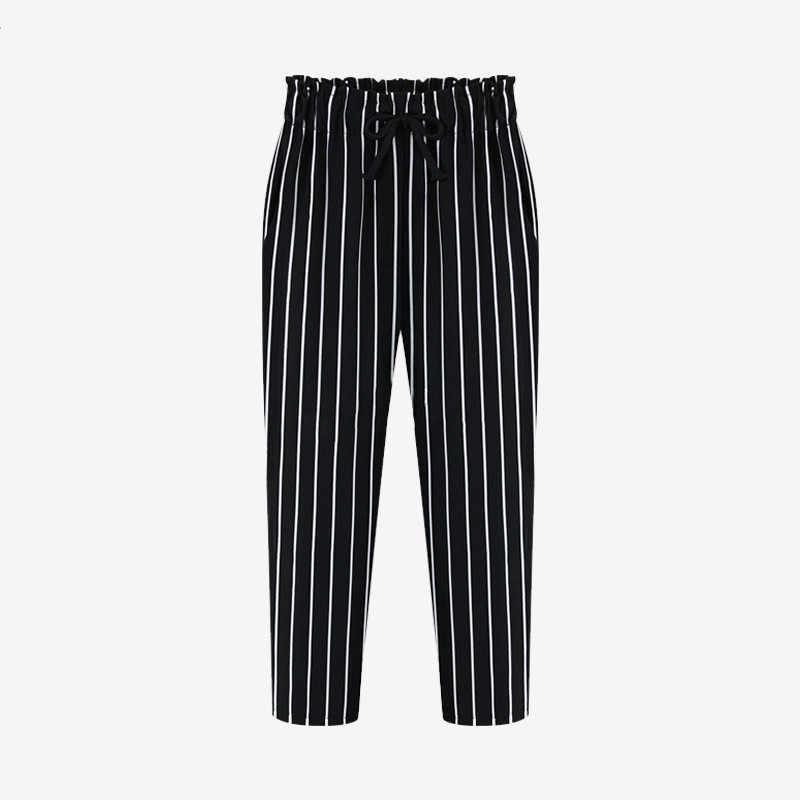 L-5XL Плюс Размер повседневные женские брюки 2019 летние шаровары длиной до щиколотки модные точечный принт-шифон осенние полосатые очень большие