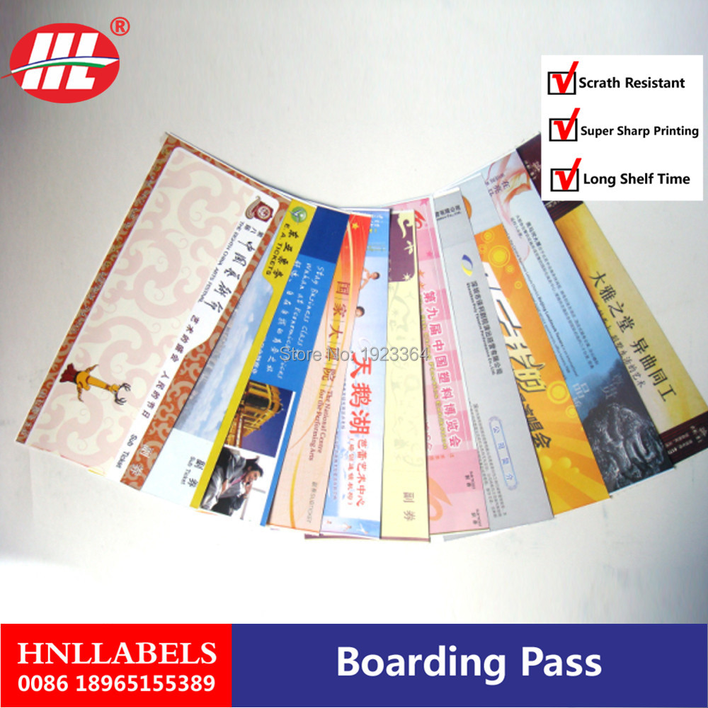 Hiagh Quality Airline Boarding Pass /Airline Flight Ticket Printing,customized Thermal Ticket