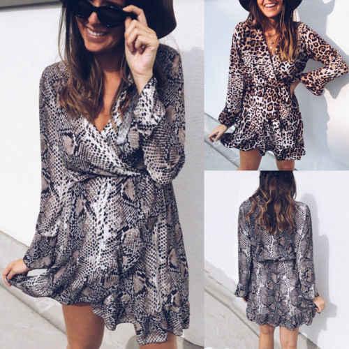 bdca397c7f53 Spring Newest Sexy Women Party Leopard Print V-Neck Plunge Wrap Dress Long  Sleeve Clubwear