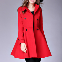 Elegant Woman'S Coat Fashion Long Manteau Femme Lapel Collar Long Sleeve Lapel Collar Fashion Female Long Outwear Red Camel Coat
