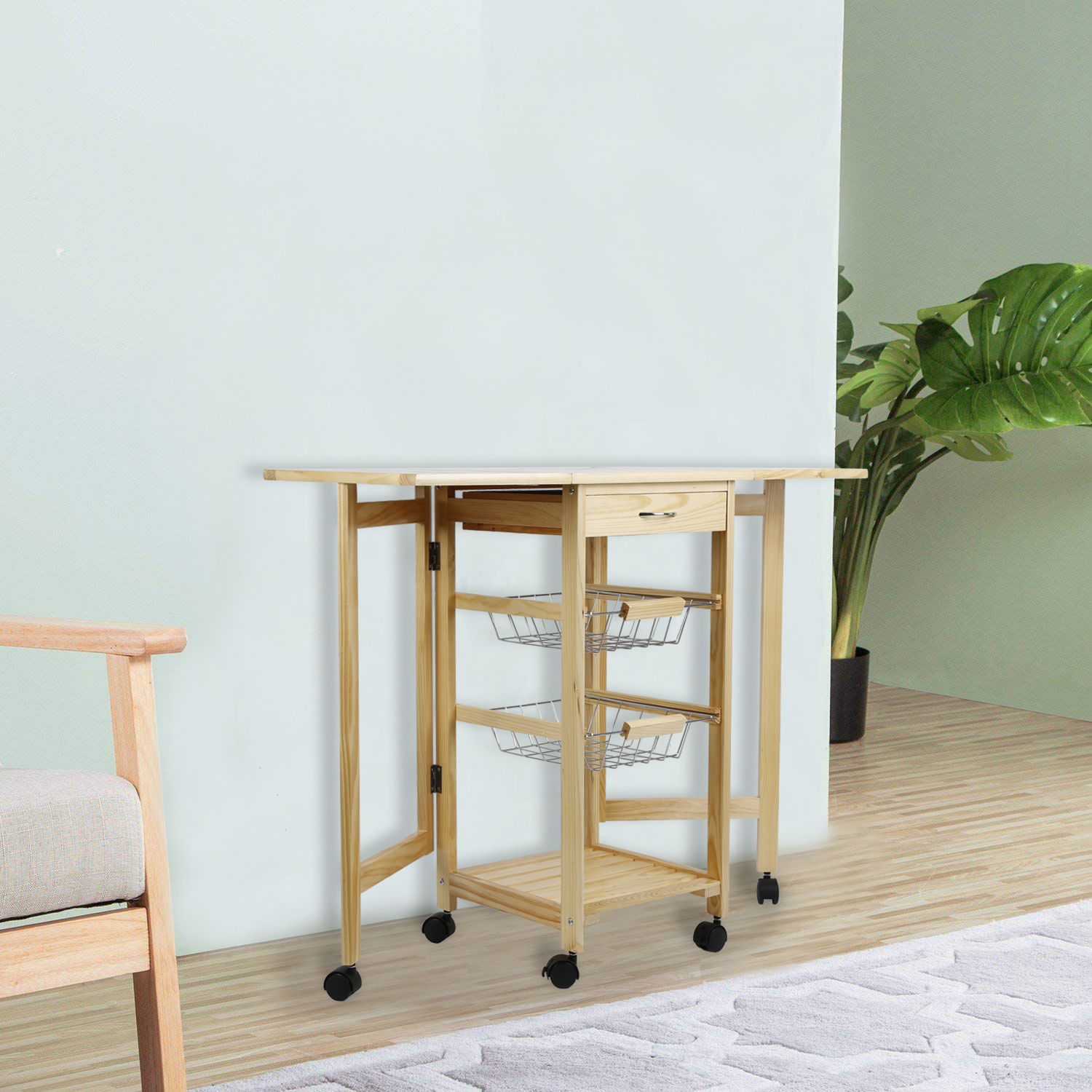 Kitchen Trolley Cart Dining Shelf Island Kitchen Storage Rack 3 Layer Fridge Side Shelf  With Wheels Storage Drawers HWC