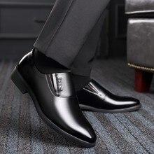 QZHSMY Increase Men Dress Italian Shoes Black Slip-on Man