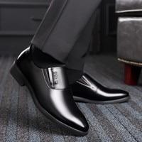 QZHSMY Increase Men Dress Italian Shoes Black Slip on Man Shoes Leather Genuine Spring Autumn
