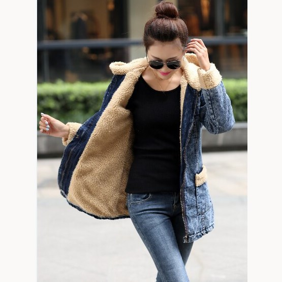 Plus Size Autumn Winter Women Denim Lamb   Parkas   Vintage Pocket Cotton Jeans Jacket Loose Boyfriend Thick Long Hooded Coat 4XL