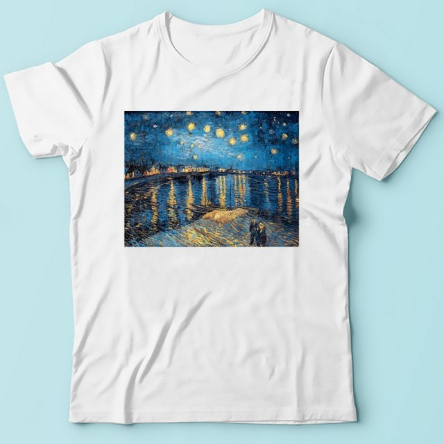 Vincent van Gogh Starry Night Over the Rhone artist t shirt men jollypeach brand new white short sleeve casual homme tshirt