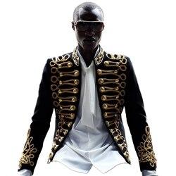 Мужская куртка с золотым принтом, стильный черный блейзер для ночного клуба, певец и ведущий костюм в европейском стиле