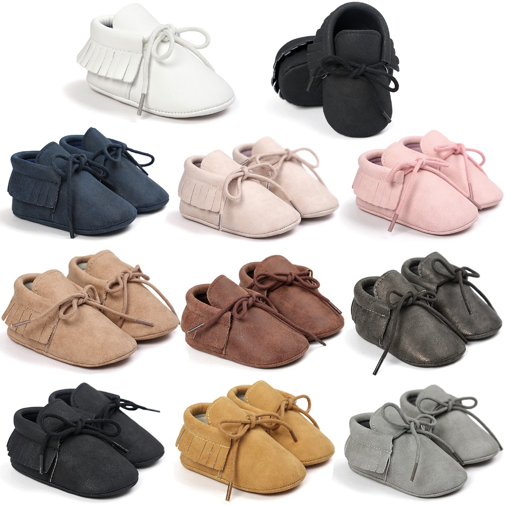 Romirus PU Leather Baby Mocassins Shoes Girls Boys First Walkers Hot Moccs Soft Bottom Fashion Tassels Newborn Shoes Bebe CX45C