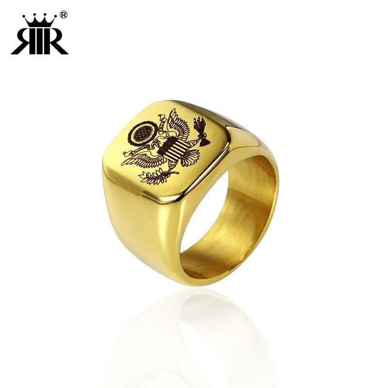RIR Stainless Steel USA Military <font><b>Ring</b></font> Men's Soldier <font><b>USMC</b></font> MARINE CORPS <font><b>Ring</b></font> Jewelry For American Mens Best Gifts image