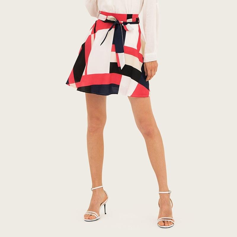 Summer Mini Skirts Sweet Boho Vintage Elegant Red OL Lady Plus Size Beach Women Geometric Retro Female Fashion Beach Skirts