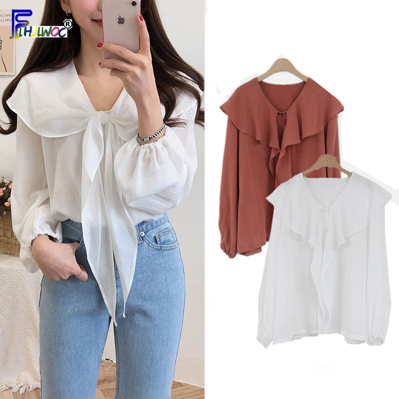 Bow Tie Dresses Women Knot Japanese Korean Design Tops Preppy Style Cute Sweet Red White Vintage   Blouse     Shirt   blusa de verano