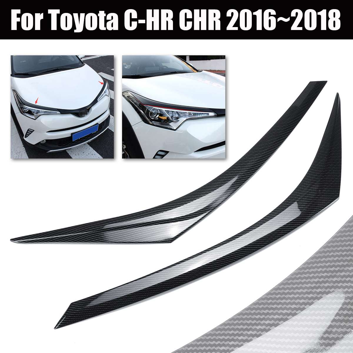 Carbon Fiber Style Front Headlight Cover Trim for Toyota C-HR CHR 2016~2018 ABS Black Auto Head Lamp CoverCarbon Fiber Style Front Headlight Cover Trim for Toyota C-HR CHR 2016~2018 ABS Black Auto Head Lamp Cover