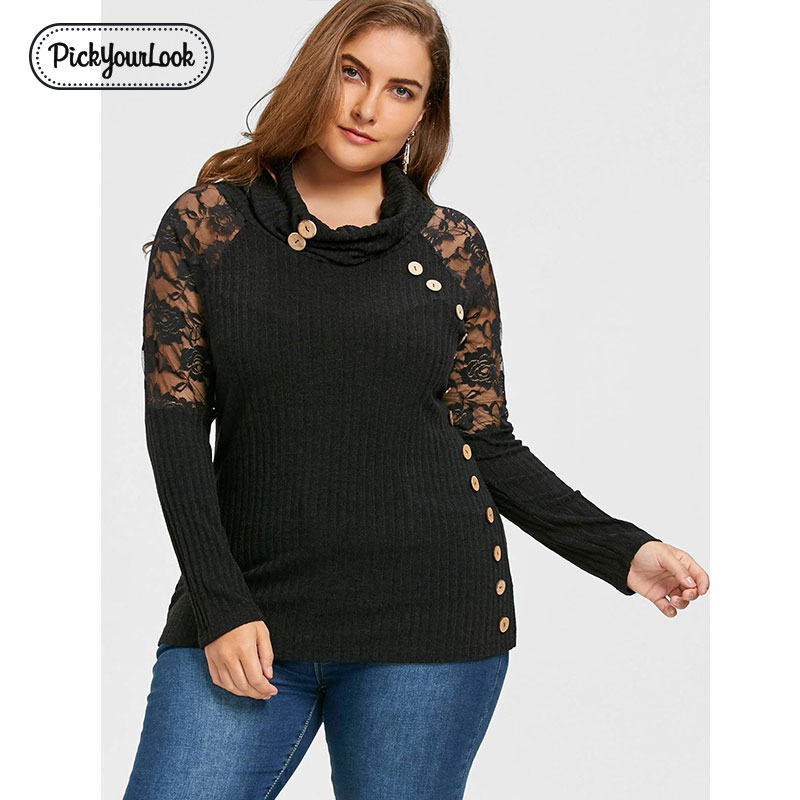 Pickyourlook Women Sweater Plus Size Autumn Thin Turtleneck Knitted Knitwear Sexy Black Button Oversized Large Pullovers Jumper
