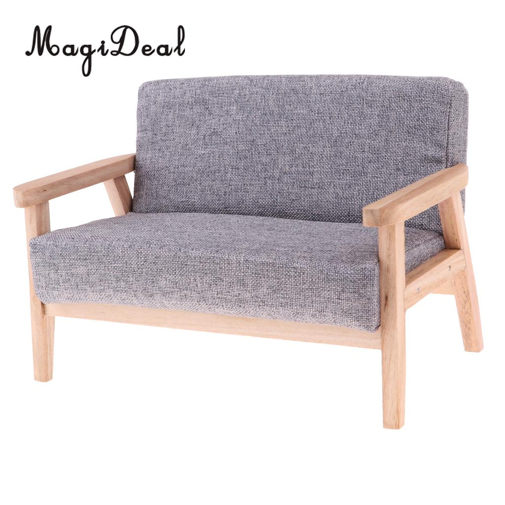 1/6 Scale Wood Dollhouse Miniature Double Sofa Couch For Hot Toys Figures Dolls Accessories Furniture Decoration Pure Whiteness