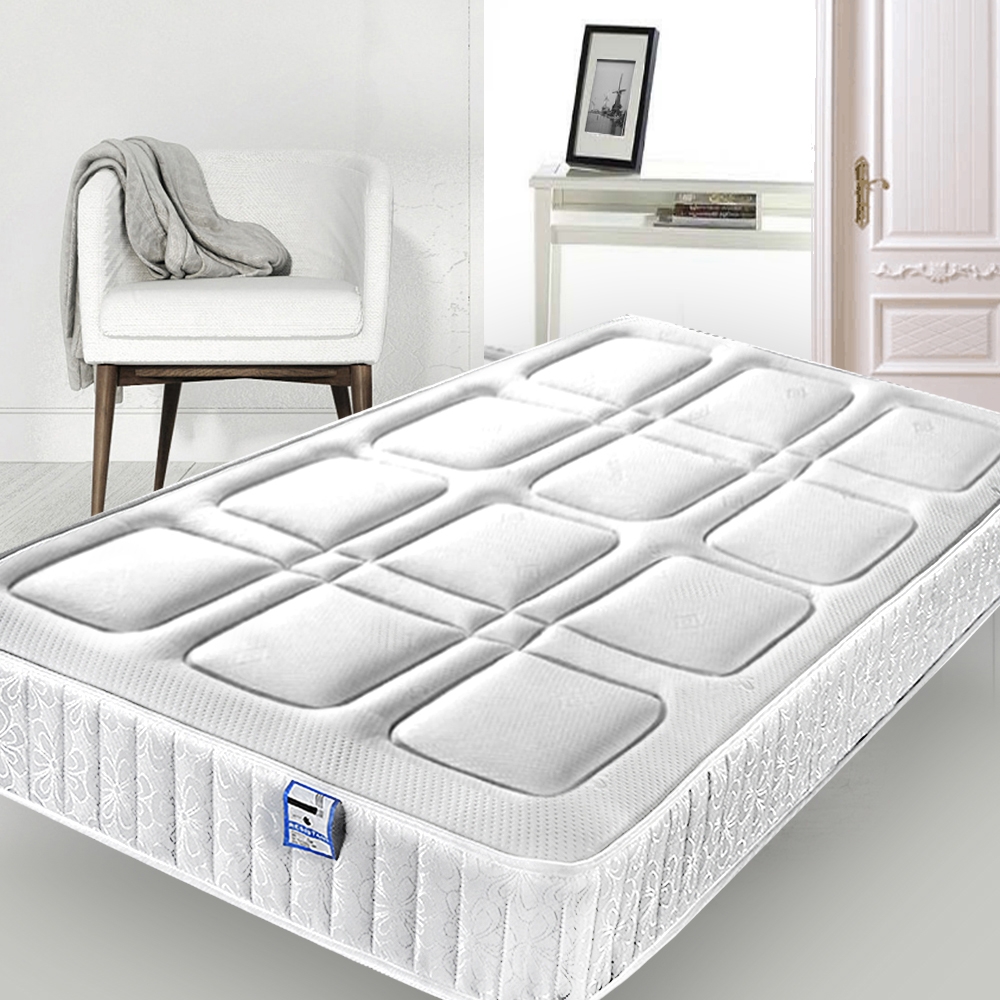 Panana Spring Mattress Square Quilted Fabric Cover High Density Foam 2FT6 SINGLE SHORT 3FT SINGLE 4FT DOUBLE Size