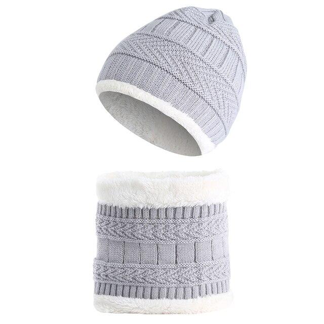 2fe145cada0 2Pcs Children Winter Hat Scarf Set Kids Fleece Warm Crochet Knitted Caps  Beanie Neck Warmer Girls