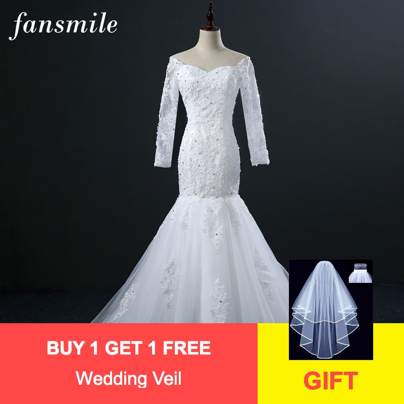 Fansmile Real Photo Vintage Lace Mermaid Wedding Dresses Long Sleeve 2019 Vestidos De Novia Plus Size Bridal Gowns FSM-309M