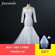 Fansmile תמונה אמיתית Vintage תחרת בת ים שמלות כלה שרוול ארוך 2020 Vestidos דה Novia בתוספת גודל כלה שמלות FSM 309M