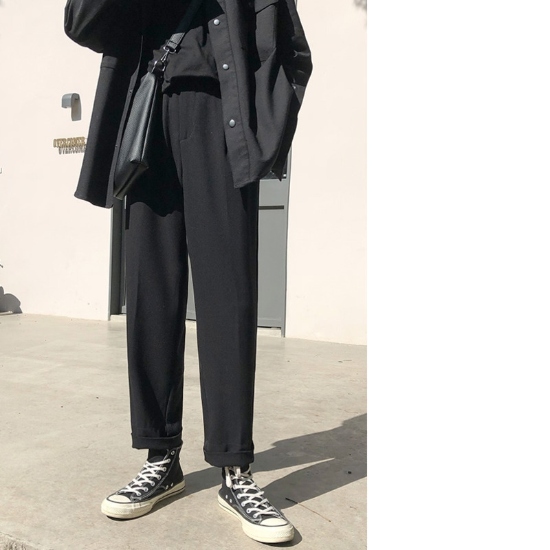 Image 5 - 2019 Spring Trend Japanese Version Of The School Wind Trousers Mens Loose Casual Solid Color Simple Sweatpants