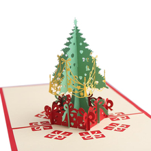 JIELISI 3D Pop Up Christmas tree Custom Greeting Cards Gifts Souvenirs Postcards