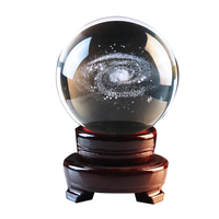 Artificial Crystal Ball Internal Carved 3D Galaxy Pattern Transparent Crystal Ball Gift Craft Decoration 80mm