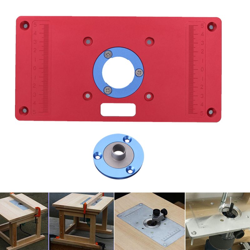 Multi-functional Red Aluminum Router Table Insert Plate Ring Screw For Woodworking Benches TrimmerMulti-functional Red Aluminum Router Table Insert Plate Ring Screw For Woodworking Benches Trimmer