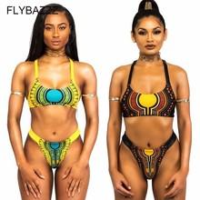 цена на Sexy African Print Bikini Set Women Ethnic Fringe Design Swimwear Push-up Monokini Hollow Out Swimsuit Maillot De Bain Plus Size