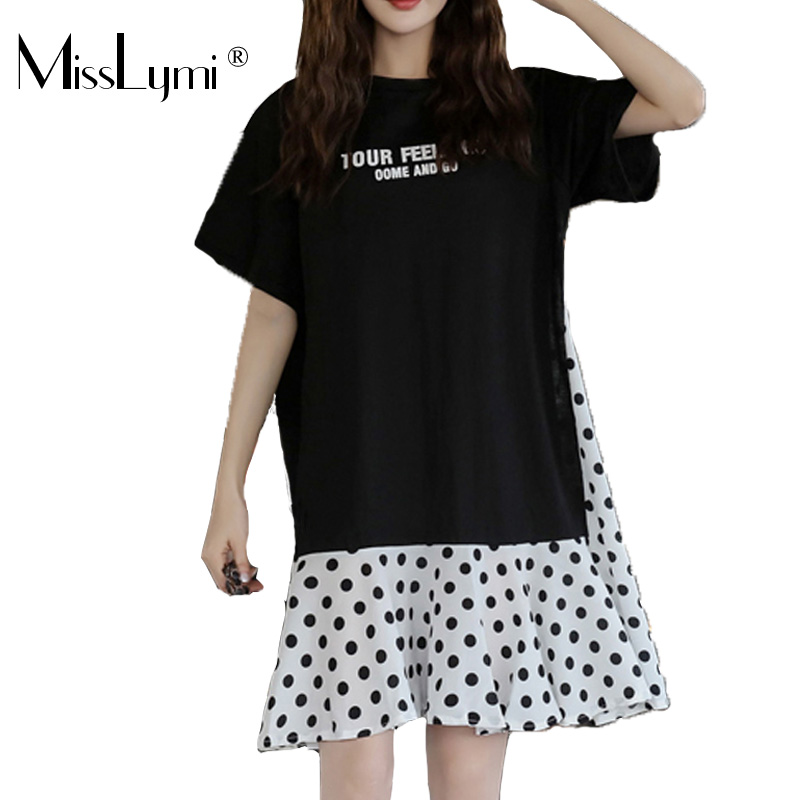 XL-5XL Plus Size Women Casual Dress Summer 2019 Short Sleeve Cotton Patchwork Chiffon Loose Casual Polka Dot Dresses 2