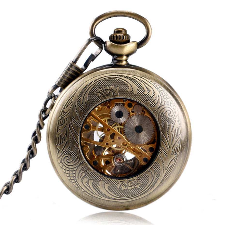 Retro Bronze Hollow Half Hunter Pocket Watch Mechanical Hand Winding Roman Numerals Display Vintage Pocket Pendant Clock Unisex