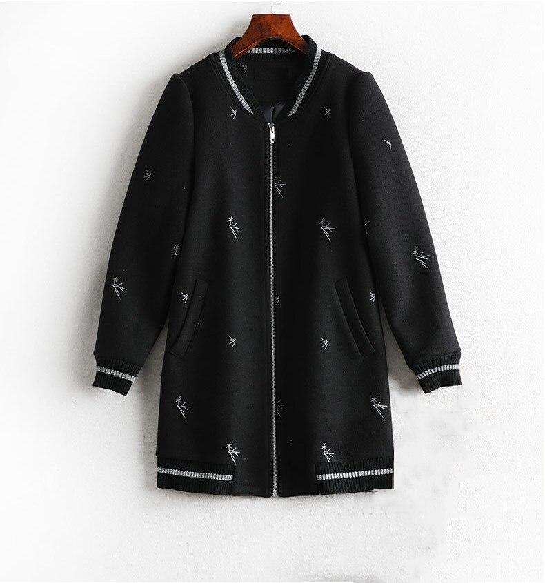 Noir O Femmes Cou Femelle Casual Hiver Patchwork Manteau Veste Streetwear Mode Automne Baseball Brodé De FvPpx56w
