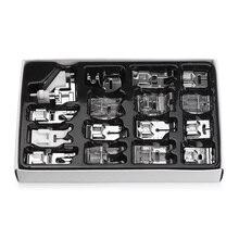 16 piezas Mini máquina de coser prensatelas para Brother Singer Janome Presser pies trenzado punto ciego Darning Set Accesorios