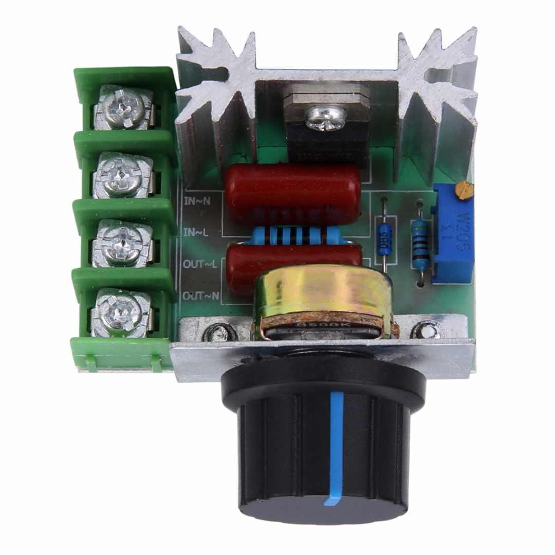 Wysokiej mocy elektroniczny napięcia SCR moduł regulatora AC 50-220 V 2000 W ściemniacze silnika kontroler pokrętło przełącznika prędkości narzędzie do kontroli