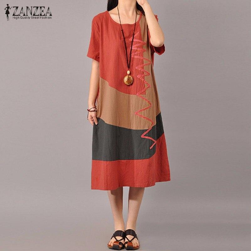 ZANZEA Women Dress 2019 Summer Short Sleeve Vestido Elegant Patchwork Casual Dresses Cotton Mid Calf Vestidos Sundress Plus Size