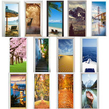 3D Door Stickers Cherry Tree Lake Boat Beach Umbrellas City Autumn Leaves Desert Elk Snow Mountain Cliff Home Decoration Paste(China)
