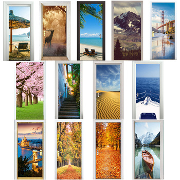 3D Door Stickers Cherry Tree Lake Boat Beach Umbrellas City Autumn Leaves Desert Elk Snow Mountain Cliff Home Decoration Paste