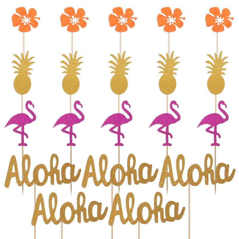 20pcs Cake Toppers Hawaii Glitter Luau Party Pineapple Flower Flamingo Aloha Dessert Toppers Insert Card Cake Decorations
