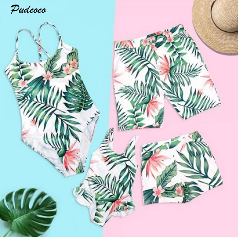 2019 Brand Mother Dad Daughter Son Matching Girl Womens Floral Monokini Men Boy Palm Leaves Shorts Swimwear Swimsuit Beachwear(China)