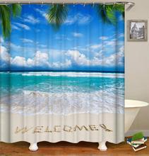 Beach Scenery Custom Shower Curtain Bathroom Waterproof Polyester Shower Curtain Printing Curtains For Home Decor Lavander stylish dancing ladies print shower curtain bathroom decor