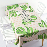 Thicken nordic linen tablecloth table cloth garden fresh green leaf simple modern coffee rectangular home decoration table cover