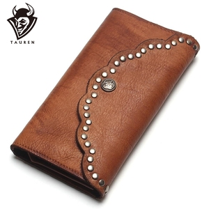 Image 1 - TAUREN Brush Color Clutch Anchor Nail Genuine Leather Women Wallets Purse Long Design High Capacity Cell Phone Pocket Coin Purse
