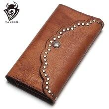 TAUREN فرشاة اللون مخلب مرساة مسمار جلد طبيعي النساء محافظ محفظة تصميم طويل قدرة عالية هاتف محمول جيب محفظة نسائية للعملات المعدنية